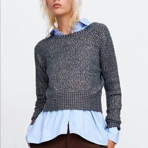 🆕 ZARA Crew neck beaded sweater